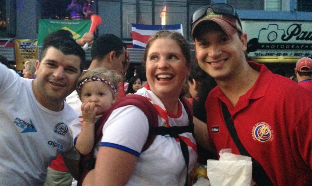 Baby wearing our oldest after Costa Rica made it to the Word Cup Quarterfinals in 2012. ¡Pa' la calle, carajo!