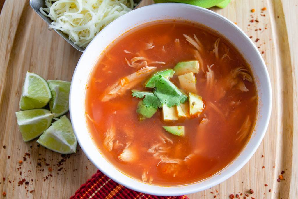bowl of chicken tortilla soup from costa rica