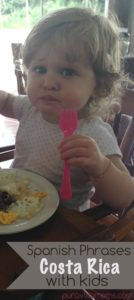 A small child in Costa Rica eating food.