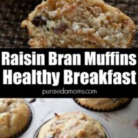 A raisin bran muffin cut in half with another image of the muffins in a baking pan underneath.