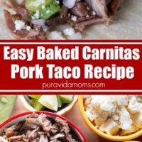 Easy baked carnitas, shredded pork in a serving bowl with other ingredients in separate bowls.