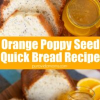 The lemon poppy bread with a side of juice.