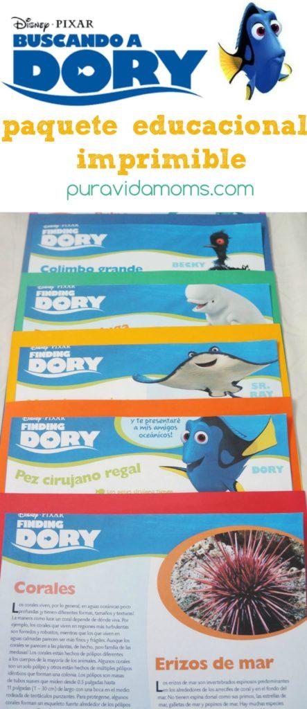 paquete educacional imprimible de buscando a dory