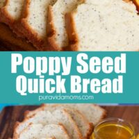 Poppy Seed Quick Bread sliced in multiple pieces.