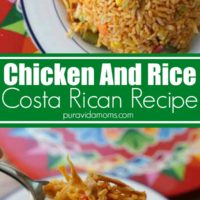 Costa Rican chicken and rice in a bowl on top of a colorful serving plate.