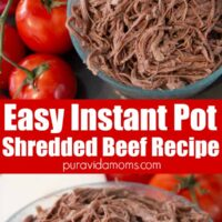 A serving dish of shredded beef with a couple of whole tomatoes on the side.