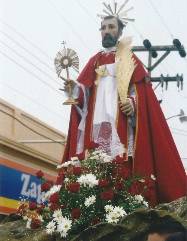 This is Saint Raymond, the patron saint of San Ramòn, as he parades through town on august 31, his feast day.