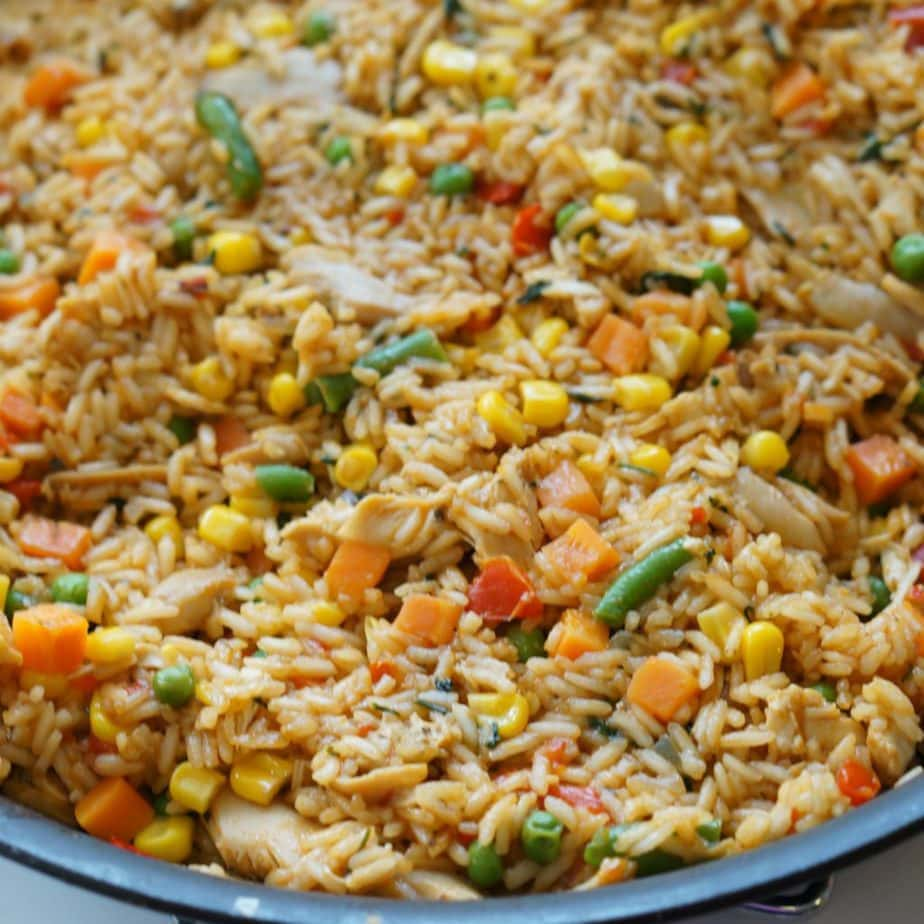 Close up of a platter of costa rican chicken fried rice.