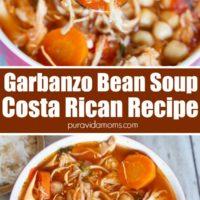 A white ceramic bowl full of garbanzo bean soup.