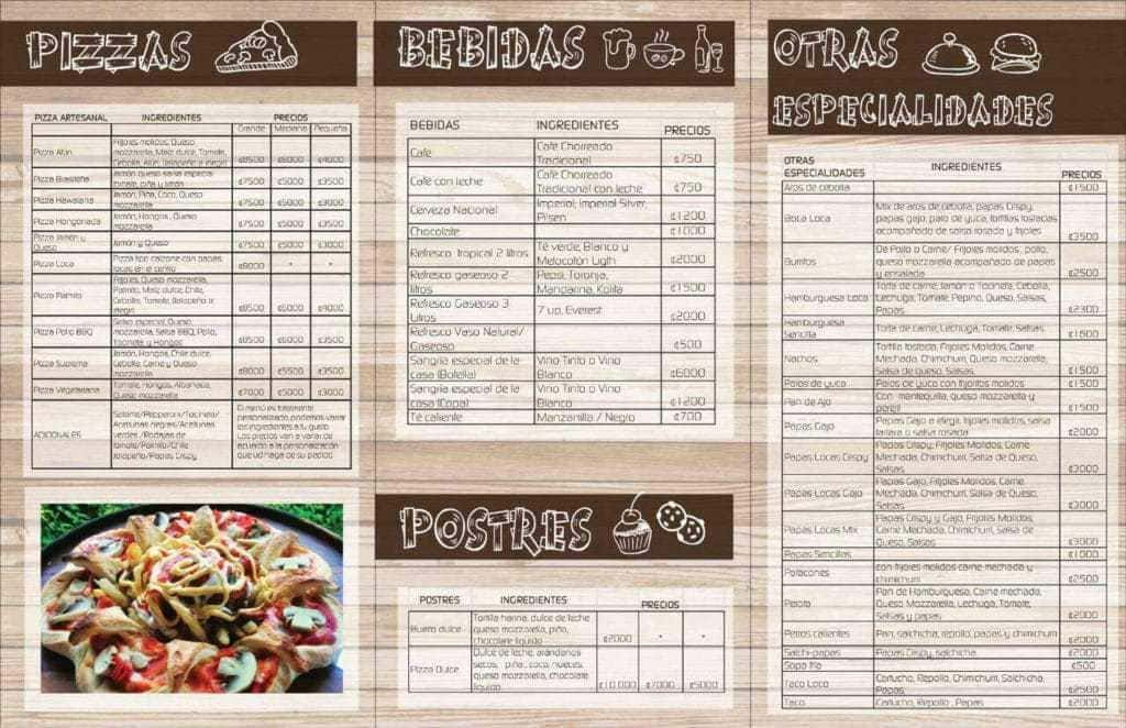 pizza loca menu