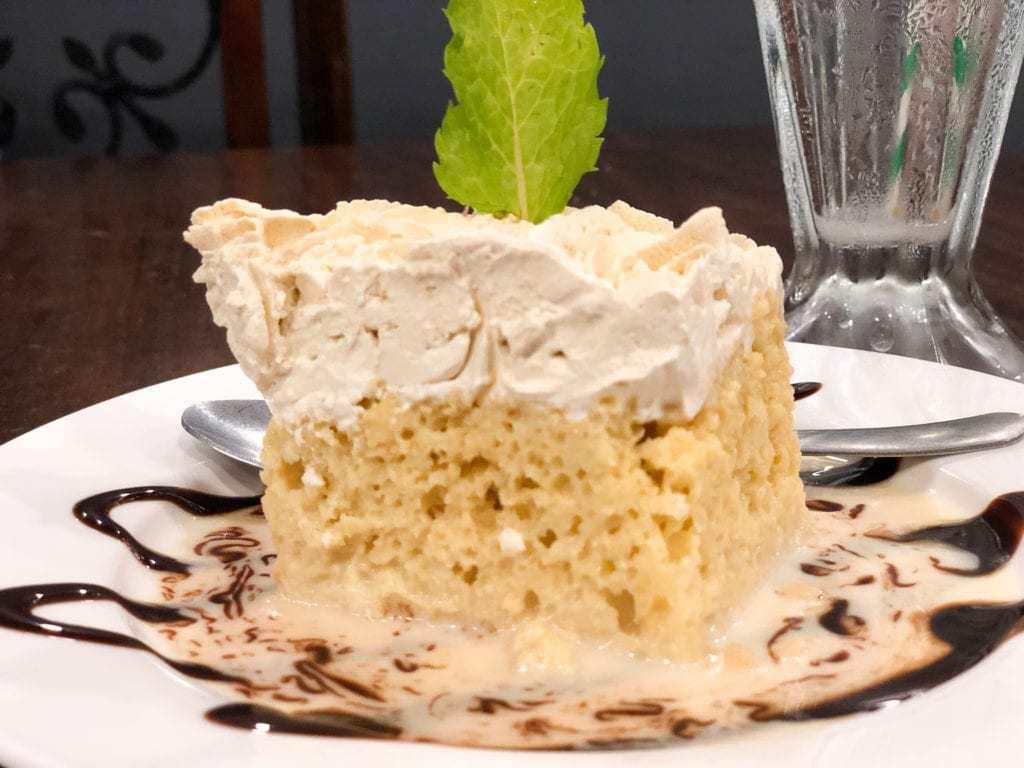 milk cake garnished with mint