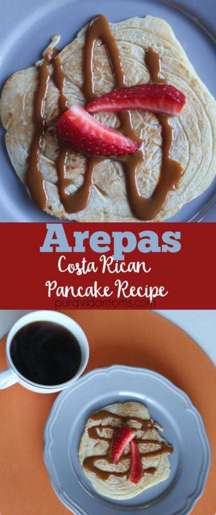 costa rican style pancake recipe served with coffee, sweet toppings and fresh fruit