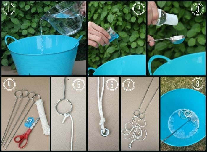 infographic depicting how to make homemade giant bubble solution and wand