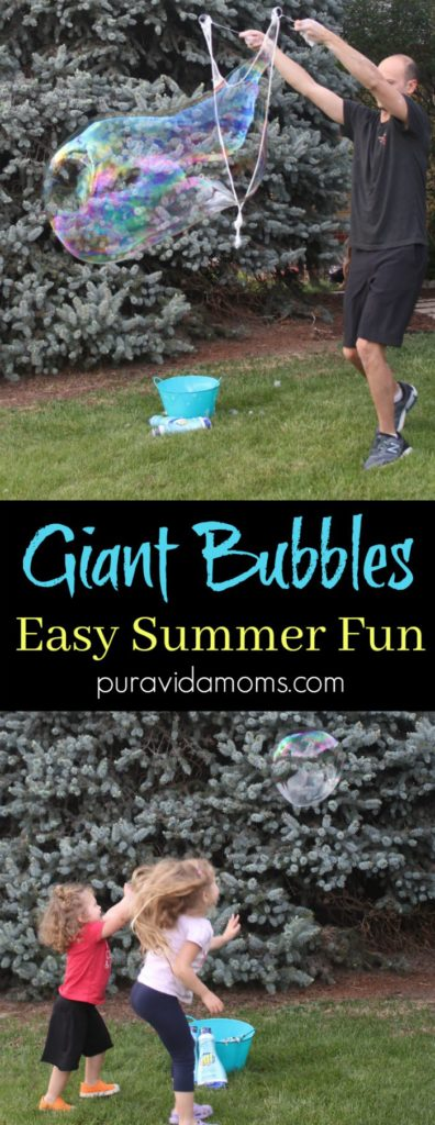 Homemade giant bubble solution is the best summer activity for kids- and a fun DIY outdoor activity for the whole family! #parenting #summerslide #summeractivity #kidsactivity #familyfun #outdoorfun #outdooractivity