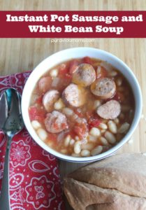 This Instant Pot Sausage and White Bean soup is an easy family soup recipe! Slow Cooker Sausage and White Bean Soup instructions included!