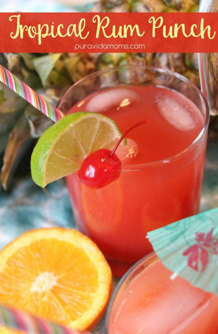 This simple rum punch recipe will have you dreaming of the sunny tropics- recipe for both single serve and pitcher included! #rum #cocktialrecipe #bacardi #springbreak #rumpunch #cocktail #easycocktialrecipe