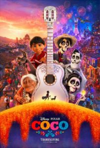 Movie release poster for Disney Pixar's Coco.