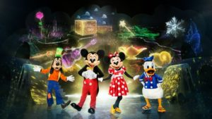The cast of Mickey's Search Party for Disney on Ice including Goofy, Mickey, Minnie, and Donald from left to right.