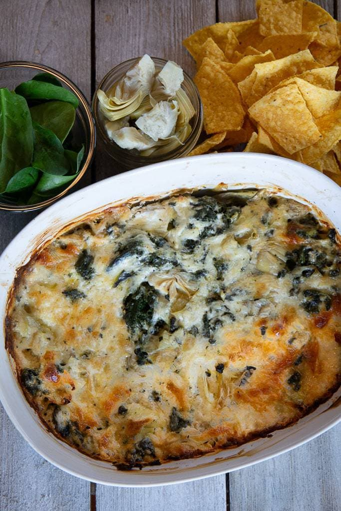 spinach and cheese dip with tortilla chips
