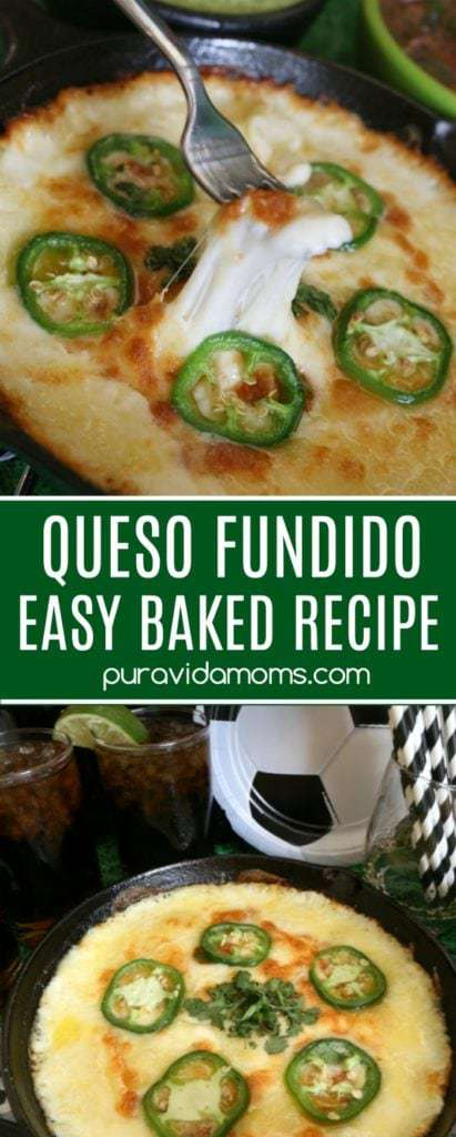 Queso fundido is a warm, gooey and delicious appetizer. This easy baked vegetarian queso fundido appetier recipe pairs as well with chips as it does with a fresh veggie tray. #queso #appetizer #quesorecipe #appetizerrecipe #vegetarianrecipe #partyideas #partyfood #gamedayappetizer #gameday #latinfood #mexicanfood #mexican