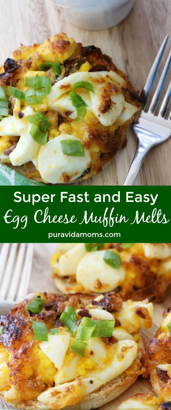 This super fast breakfast will please a crowd- it's so easy to make these egg cheese muffin melts that the recipe will become a household staple- I promise!