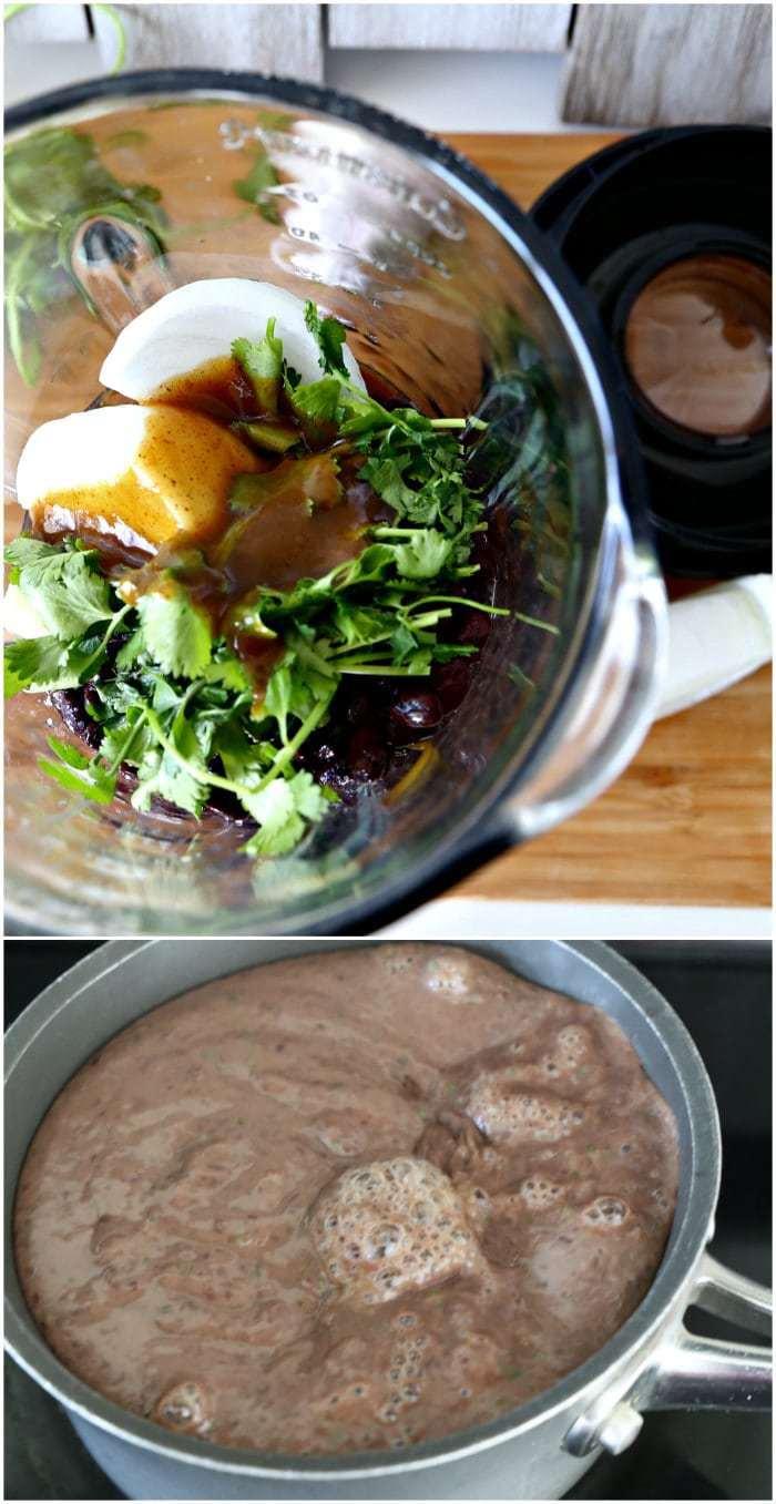 ingredients in blender and black bean dip on stovetop