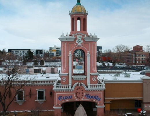 Aerial view of Casa Bonita Denver Colorado.