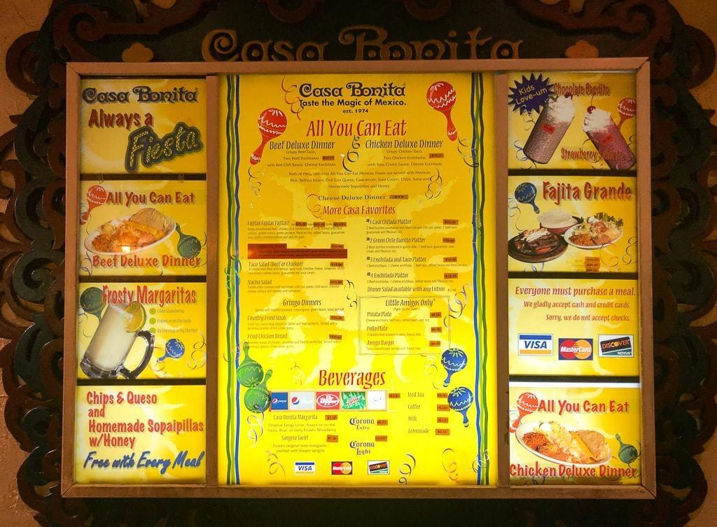 menu on wall in casa bonita