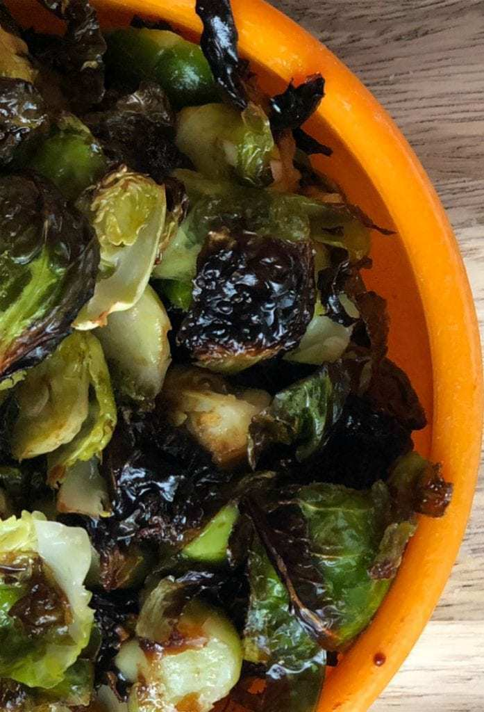 Crisped Asian Brussels sprouts serving.
