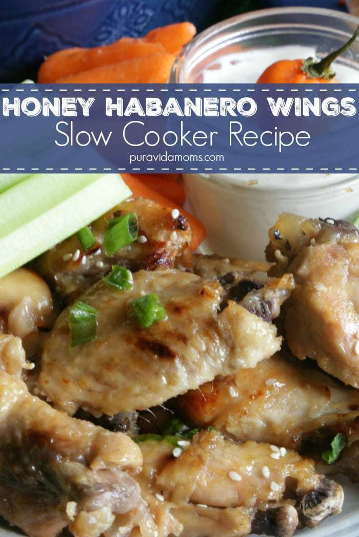 These slow cooker habañero wings are the perfect combination of sweet and spicy- and the best make ahead game day recipe!