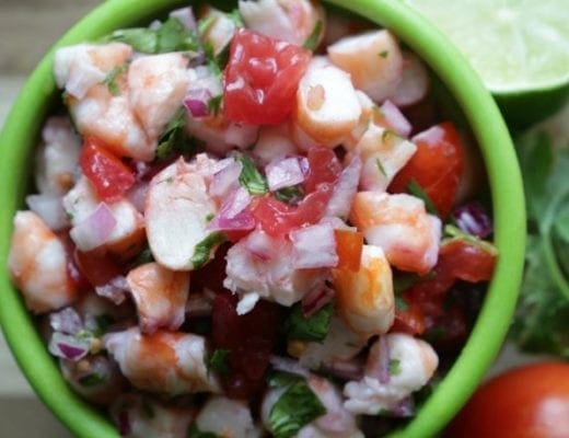 This low calorie Costa Rican shrimp ceviche is the perfect appetizer or meal for meatless Monday! A typical Costa Rican cuisine recipe found on almost any menu and easily prepared at home!