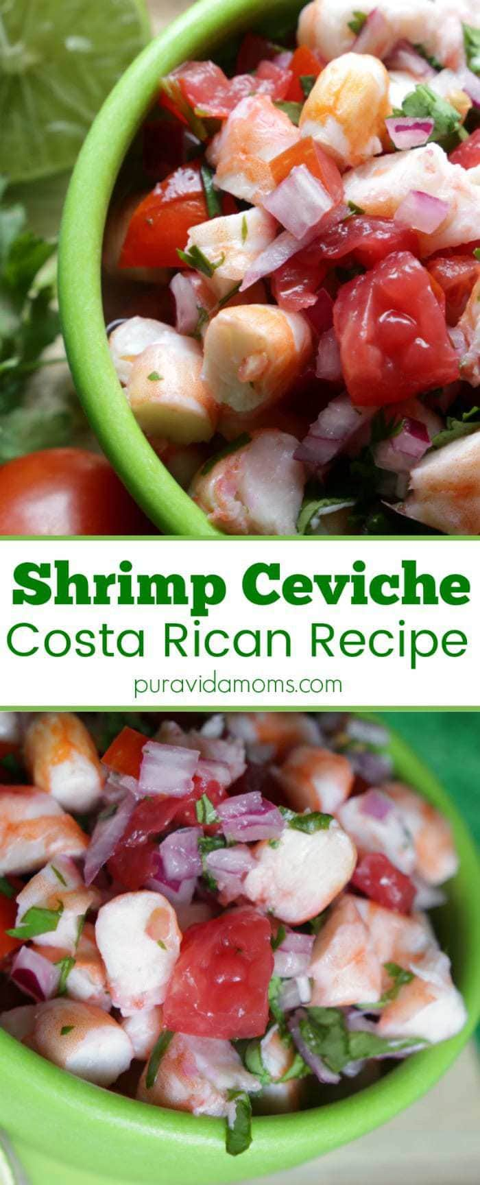 This low calorie Costa Rican shrimp ceviche is the perfect appetizer or meal for meatless Monday! A typical Costa Rican cuisine recipe found on almost any menu and easily prepared at home! #ceviche #costarica #mealtlessrecipe #shrimp #lentrecipe #latinamericanfood #costaricanfood