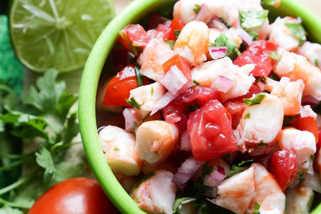 close up of shrimp ceviche from costa rica