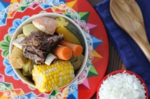 Costa Rican Vegetable Beef Stew with carrots, corn, beef, and potatoes.