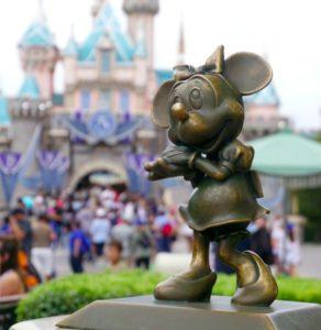 Minnie Mouse bronze statue near Disneyland entrance.