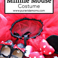 The different articles of the Minnie Mouse Costume on the ground.