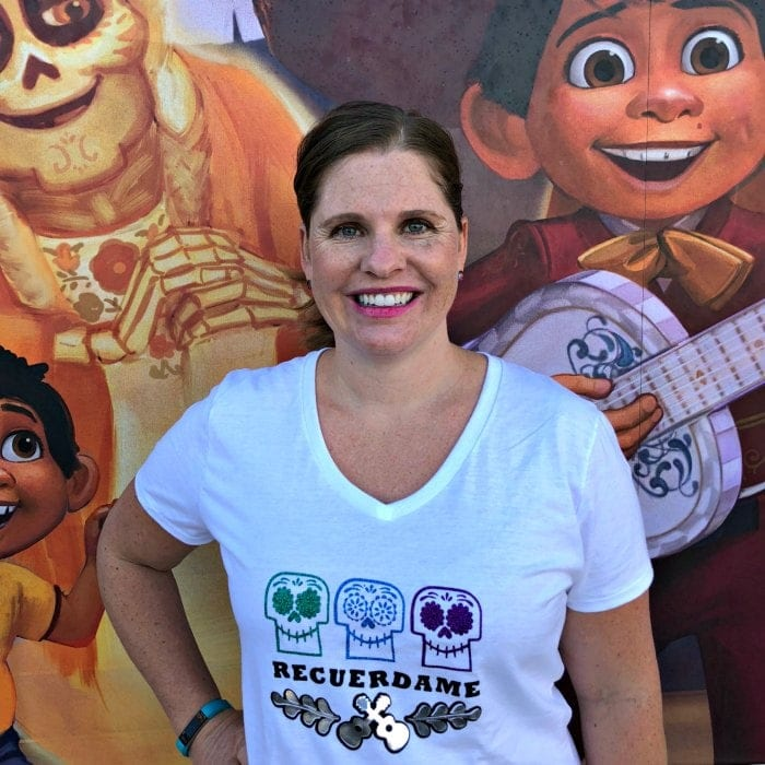 Celebrate Day of the Dead, Halloween and Disney Pixar's Coco movie with this gorgeous DIY Coco T Shirt! Includes instructions on how to create the shirt using Cricut or other cutting tool.