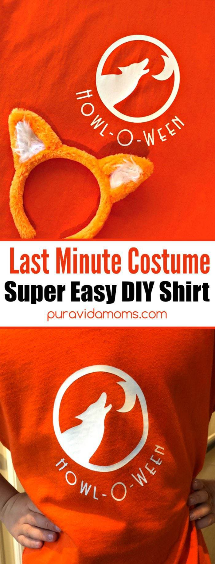 This cute and easy DIY Wolf Halloween Shirt takes almost no time to make and doubles as a Halloween costume. Get ready for Howl-O-Ween with this adorable and punny Wolf Halloween shirt. Just add wolf ears!