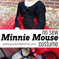 A little girl in a Minnie Mouse costume.