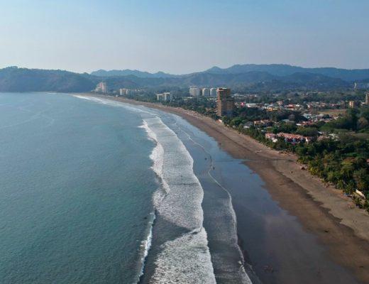 Aerial view of Jaco Beach coastline Costa Rica.