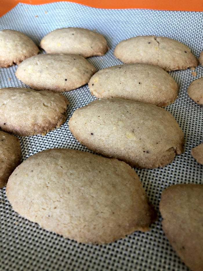 Finnish spoon cookies just fresh from oven a bit browned.