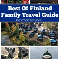 Images of dogs, buildings, and children to show a travel guide to all the best places of Finland.