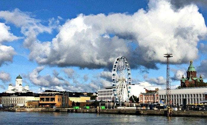 Ocean bay skyline Helsinki Finland.