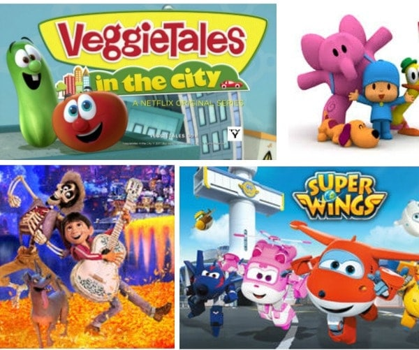 collage of popular television shows for kids in Spanish