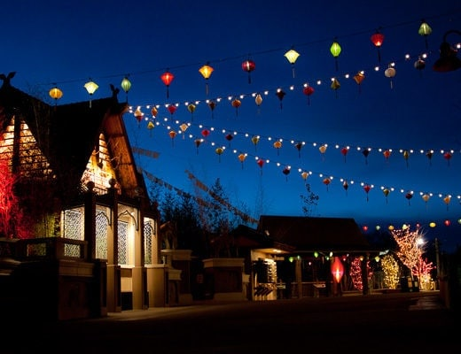 Multiple strands of lanterns tied up between buildings at Denver Zoo Light Festival of Lanterns.