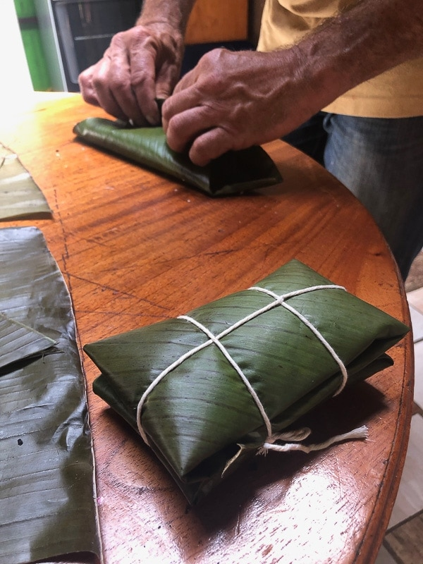 costa rican tamal tied up with string