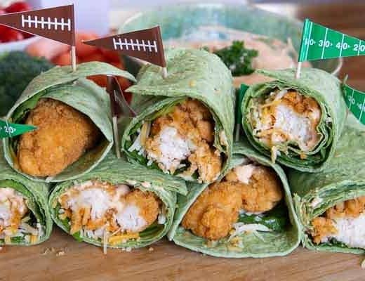 buffalo chicken wraps with football flags