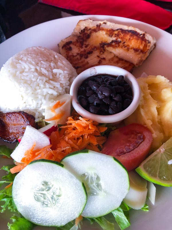 grilled chicken casado at soda la parada la fortuna