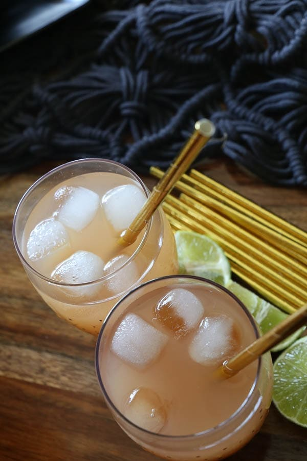 guava ginger moscow mules with lime wedge garnish