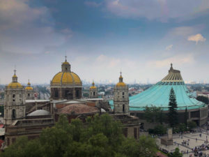 Exterior view of La Villa Virgin of Guadalupe religious site Mexico City.